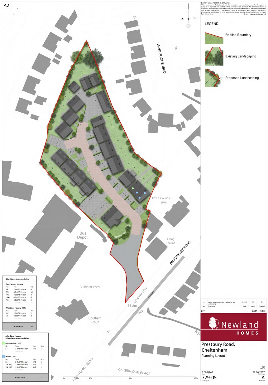 Prestbury Road planning layout